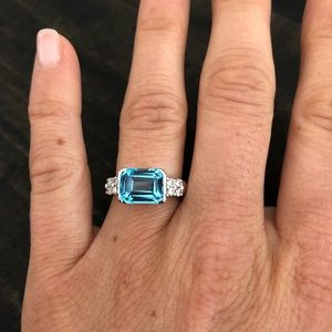 Jewelry - 18K White Gold Swiss Blue Topaz Ring w/.20 diamond